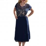 Rochie de gala scurta, masura mare, dantela si voal bleumarin