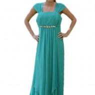 Rochie de nunta, deosebita, design simplu si elegant, culoare turcoaz