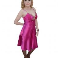 Rochie de nunta, nuanta de roz, inchidere cu fermoar, bretele fine