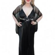 Rochie de ocazie din saten negru, cu decolteu in V, model lung
