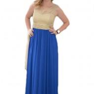 Rochie de ocazie, masura mare, albastra, cu insertii de margele