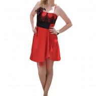 Rochie de ocazie sexi, din saten rosu cu insertii de broderie neagra
