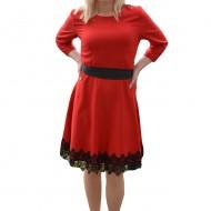 Rochie de ocazie toamna-iarna, culoare rosie cu detalii negre