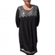 Rochie de ocazie, vaporoasa neagra, din voal si dantela argintie