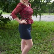Rochie de seara , bleumarin cu dantela rosie, peplum in talie