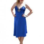 Rochie de seara scurta, saten pe albastru regal, cu decor de pietre
