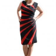 Rochie de vara, croi clasic, cambrat, nuanta neagra cu dungi rosii