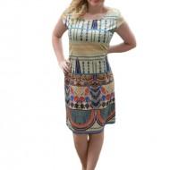 Rochie de vara, de culoare bej, cu imprimeu abstract multicolor