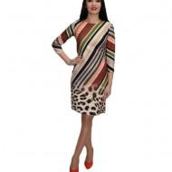 Rochie de zi cu cu dungi si imprimeu animal-print ,multicolora