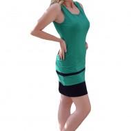 Rochie de zi, cu maneca scurta, colorata, nuanta de verde