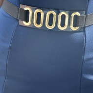 Rochie de zi de culoare bleumarin cu design de centura in talie