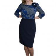 Rochie deosebita cu aspect de costum bleumarin cu imprimeu sus