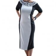 Rochie deosebita de vara, design cu aspect brodat, negru-alb