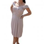 Rochie eleganta Aime cu pliseuri,nuanta de pudra
