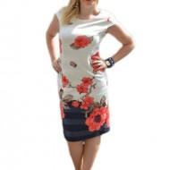 Rochie eleganta, alba, cu design de dungi lucioase si flori rosii