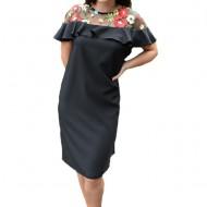 Rochie eleganta Alizee ,brodata cu flori,nuanta de negru