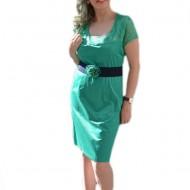 Rochie eleganta cu dantela in partea de sus, de nuanta turcoaz