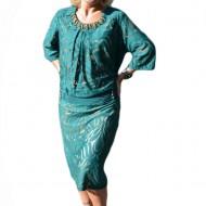 Rochie eleganta cu dantela si insertii de margele, nuanta verde