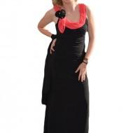 Rochie eleganta , de culoare neagra din jerse fin fronsata