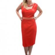 Rochie eleganta, de culoare rosie, cu design de strasuri aplicate