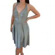 Rochie eleganta Ermine, textura cu fir de lurex ,nuanta de argintiu