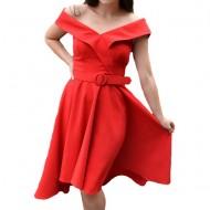 Rochie eleganta Fiene cu decolteu in V,nuanta de rosu