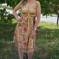 Rochie eleganta,  florala, de culoare aurie