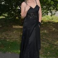 Rochie eleganta lunga,neagra cu inserti dantela