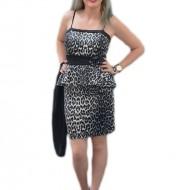 Rochie eleganta, tinereasca, culoare negru-gri, animal-print