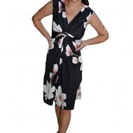 Rochie Eleonor cu imprimeu floral big,nuanta de negru