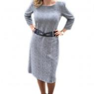 Rochie fashion cu paiete in tesatura, model elegant de culoare gri