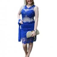 Rochie fashion de ocazie, albastra, model scurt, design rafinat