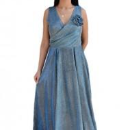 Rochie fashion de ocazie, model lung in nuanta de albastru