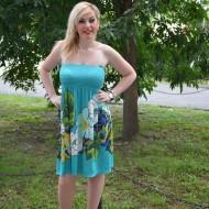 Rochie fashion scurta, nuanta turcoaz, cu elastic in partea de sus
