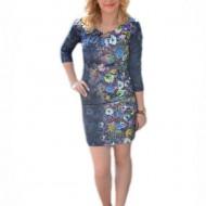 Rochie feminina ,bleumarin cu flori de camp