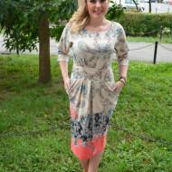 Rochie feminina, crem-bleumarin-turcuaz-corai