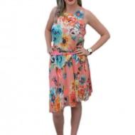 Rochie feminina ,din voal, colorata si croi asimetric