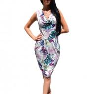 Rochie feminina, multicolora, cu croi lejer pe silueta, cu design nonfigurativ
