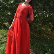 Rochie feminina, rosie, din tul si dantela cu maneca trei-sferturi