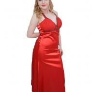 Rochie lunga cu croiala evazata, nuanta rosie, cu decor de paiete