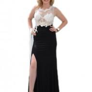 Rochie lunga de ocazie, culoare neagra top cu dantela neagra