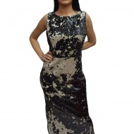 Rochie lunga de ocazie, design de paiete bicolore negru-argintiu