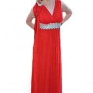 Rochie lunga de seara din voal de culoare rosie, masura mare