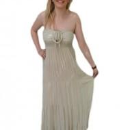 Rochie lunga de vara, de culoare bej, din material de calitate