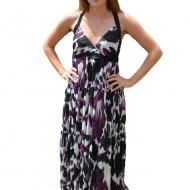 Rochie lunga de zi, vaporoasa de vara, cu imprimeu multicolor