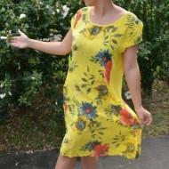 Rochie Merle, din bumbac, imprimeu cu flori, nuanta galben