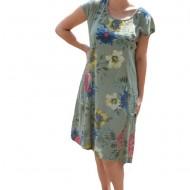 Rochie Merle, din bumbac, imprimeu cu flori, nuanta kaki