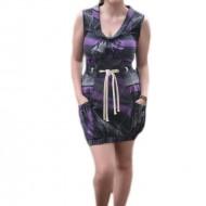 Rochie mini, de culoare gri cu dungi mov, model fara maneci