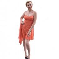 Rochie moderna, din dantela portocalie, gen corset in partea de sus