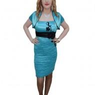 Rochie mulata, nuanta de turcoz, design floral fashion